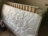White Wooden Single Bed + Mattress