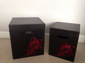 2 Brown Leather Storage Boxes