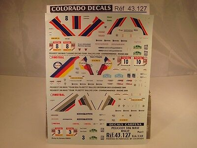 DECALS 1/43 PEUGEOT 306 MAXI RALLY PART 1 CARPENA 43127