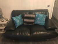 - QUICK SALE - 2 Nr 2 Seater Black Leather Suite