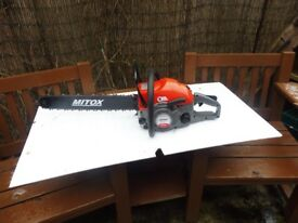 "NEW MITOX 62CC CHAINSAW. WITH 20"" BAR AND CHAIN"