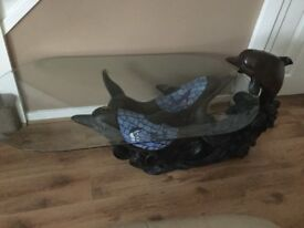 Lovely glass dolphin table