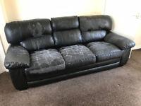 Free Large Size Leather Sofa - Sofas - Settee - 3 Seater - Seat - 2 x 3 Seater - Black - Free