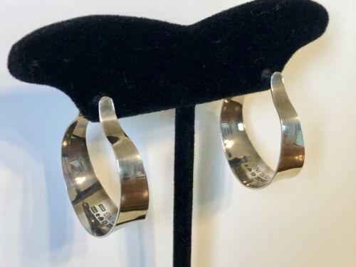 Vintage Alton Scandinavian Modernist Sterling Silver Hoop Earrings w/Posts 1976