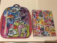 My little pony backpack and matching folder - great condition