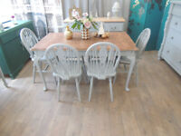 French style shabby chic dining table with 6 Windsor chairs