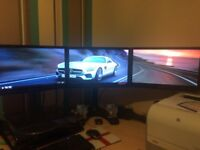 3 X ( Triple ) Monitor Setup on Triple Monitor Stand