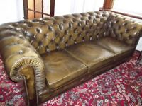 Chesterfield 3 piece sofa & Wing chair