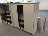 STEELCASE TAMBOUR CUPBOARDS 1320 Hi X 1200MM WIDE - WITH SHELVES GOOD COND = 35 AVAIABLE