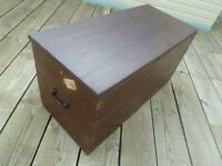 Large Vintage Wooden Trunk with Sturdy Metal Handles and Metal lined inside