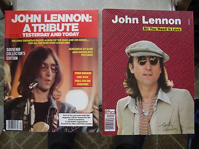 2 John Lennon Beatles 1980 Collector Tribute Magazines