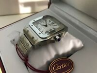 New Swiss Men's Cartier Santos Stainless Steel Automatic Watch