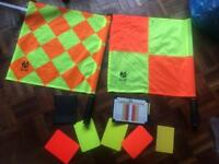 Linesmans flags and referee and penalty cards