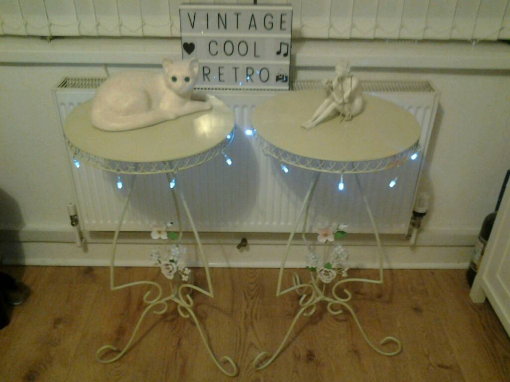 Lovely pair shabby chic side tables