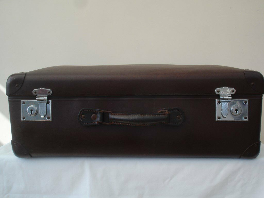 VINTAGE RETRO LARGE LEATHER GLOBE TROTTER SUITCASE HOME STORAGE OR ...