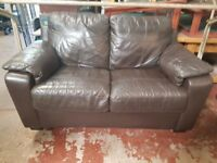 Brown two Seater Leather Sofa FREE MANCHESTER DELIVERY