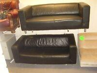 2 x 2 Seater Ikea Klippan Black Leather Sofas Settees. 2 Piece Suite