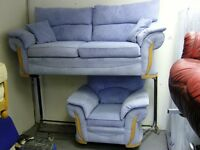 2 Piece Suite. 3 Seater Sofa Settee and Armchair in Light Blue Fabric. Great Condition