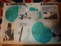 Vintage 1950's Educational Wall Poster Empire Information Project - British Honduras British Guiana