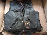 Ladies Leather Biker Motorcycle Waistcoat