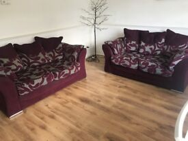 2 x 2 seat Sofas Burgundy Structorlly Perfect Removable Cushions
