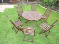HARDWOOD TEAK GARDEN TABLE AND CHAIRS
