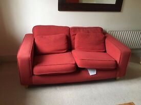Red 2 seat fabric sofa - for collection on 27 Dec (pm) or 28th Dec (am)