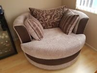 CUDDLE SOFA LARGE SWIVEL CHAIR in MINK JUMBO CORD and BROWN TEXTILE (ex DFS) in EXCELLENT CONDITION