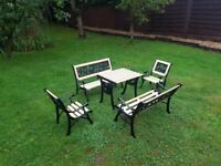 Childrens 5 Piece Cast Iron Garden Furniture Table Chairs Benches Refurbished