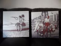PAIR OF LARGE VINTAGE STYLE POP ART CANVASSES
