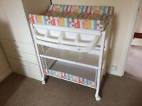 Changing unit with bath and storage on wheels- hardly used