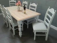 Sublime Farmhouse Table and Chair Set - Bespoke - 6ft x 3ft -White-Cream-Grey