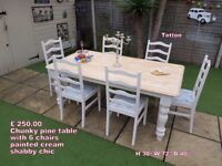 Pine chunky table and 6 chairs