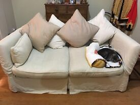 3 seater cream linen loose covered sofa