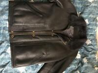 Wool on sheep skin leather jacket