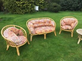 Wicker conservatory furniture table and now chairs