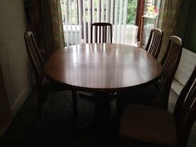 Retro Teak Dining Table and Chairs