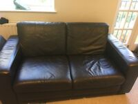 Two, two seater brown leather sofas for sale