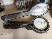 "Grafton ""Clipper"" 5 string convertible resonator banjo with hard case"