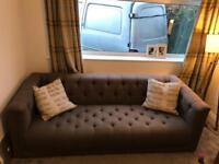 Dfs grey sofa / chair / footstool