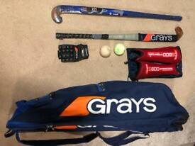 Hockey bag, sticks, balls, glove & shinpads