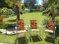 3 garden chairs folding retro