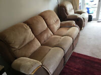 Reclining 3 seat sofa and reclining chair and footstool 325 ono