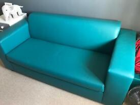 Green faux leather sofa bed