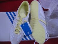 Adidas Gazelle Sleek series - white and lemon size 7 trainers - new in box