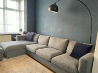 Ikea VIMLE 3 seater sofa with chaise and footstool in Gunnared Medium Grey fabric