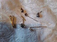 Six items vintage, 2 tie pins, 3 tie tacks and 1 tie clasp see photos