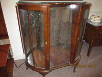 Vintage Double Door Walnut Display Cabinet