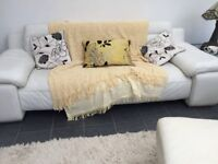 Cream large leather sofa