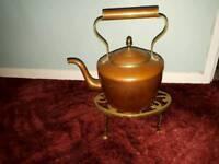 Copper kettle and trivet